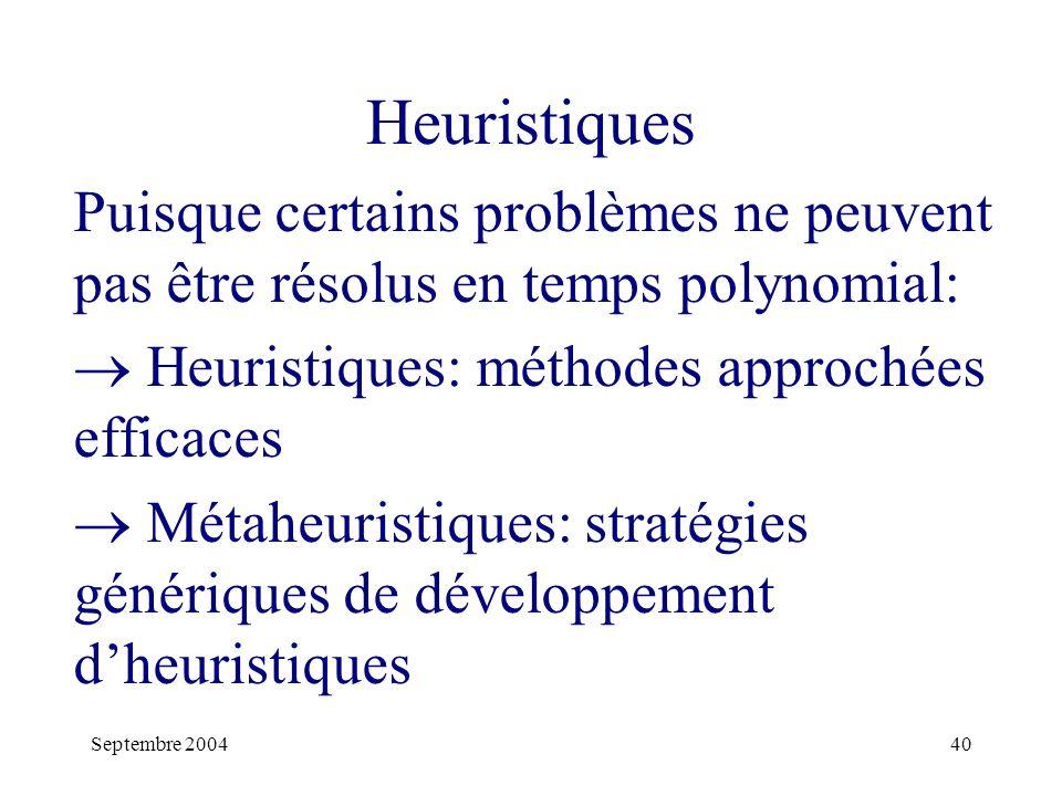 Heuristiques Puisque certains problèmes ne peuvent pas être résolus en temps polynomial:  Heuristiques: méthodes approchées efficaces.