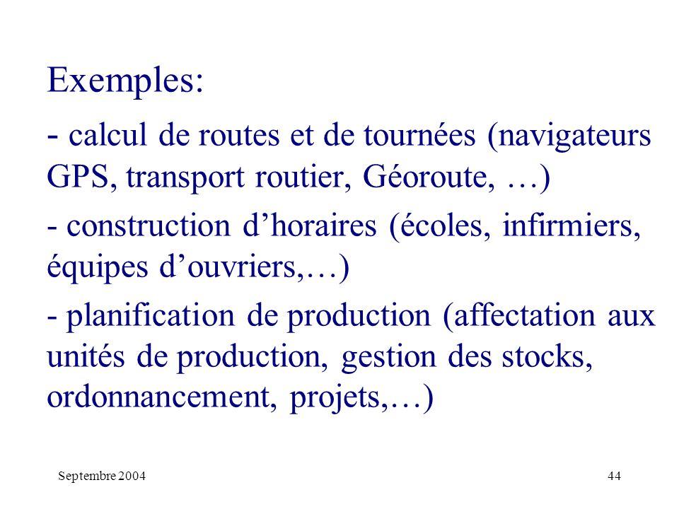 Exemples: - calcul de routes et de tournées (navigateurs GPS, transport routier, Géoroute, …)