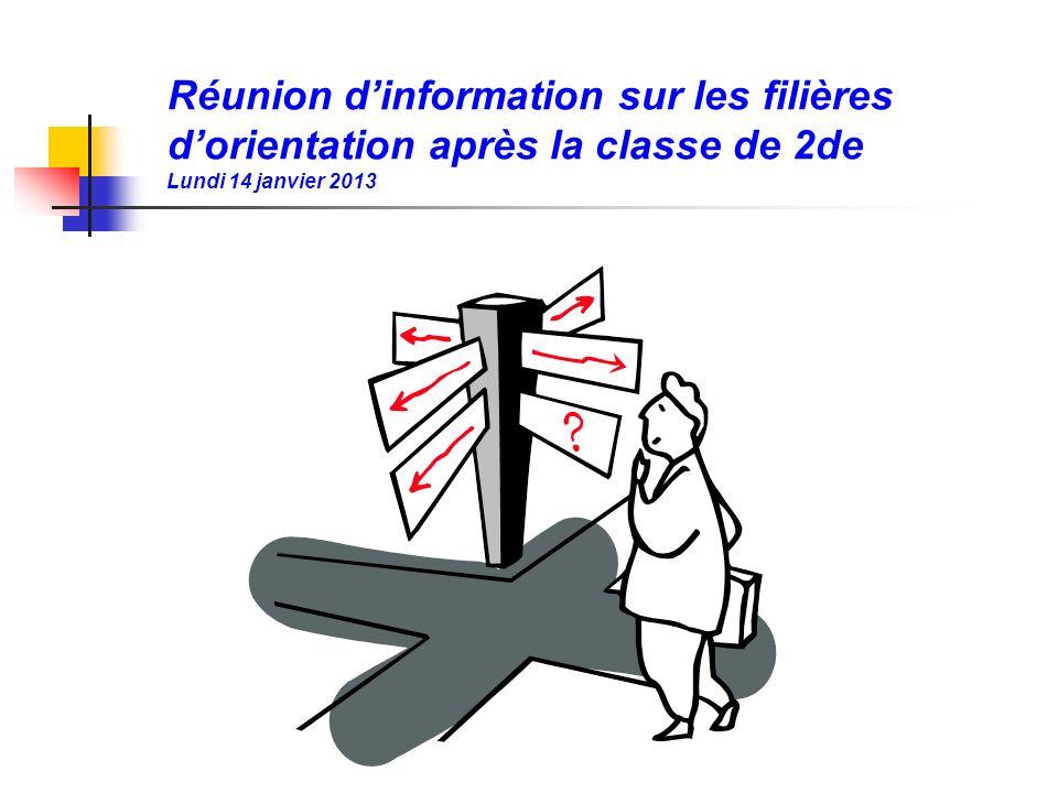 Réunion d'information sur les filières d'orientation après la classe de 2de Lundi 14 janvier 2013
