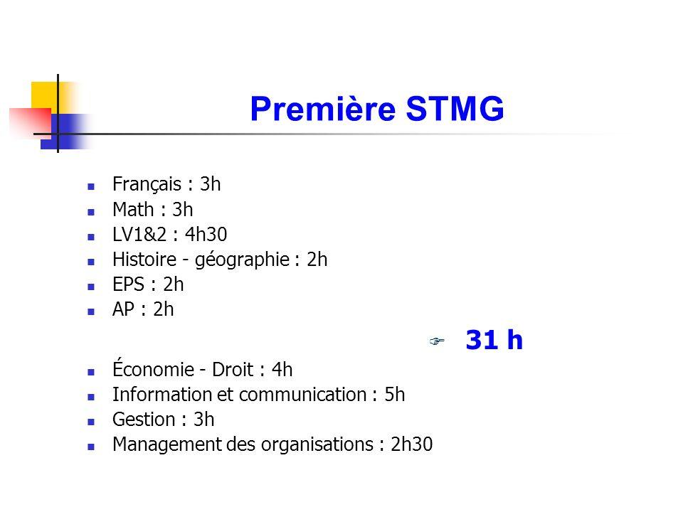 Première STMG Français : 3h Math : 3h LV1&2 : 4h30