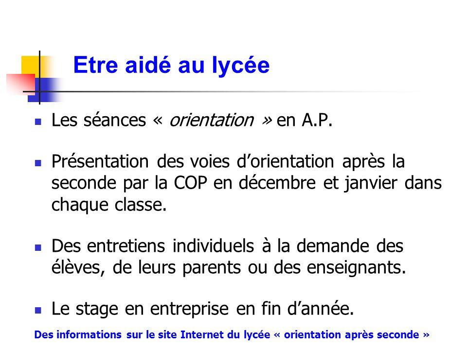 Etre aidé au lycée Les séances « orientation » en A.P.