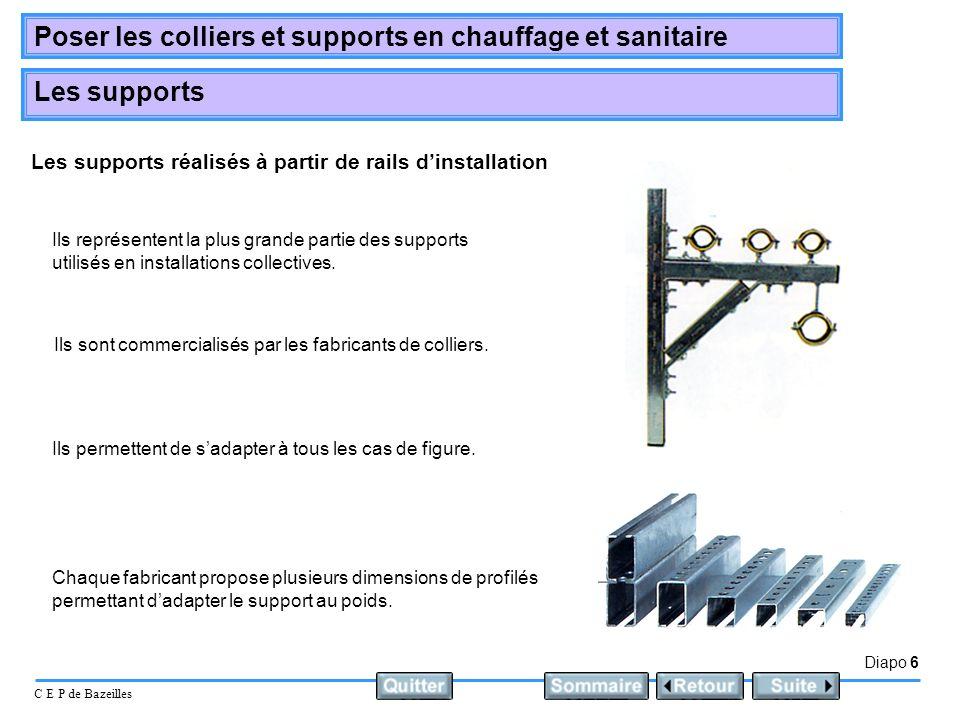 Les supports réalisés à partir de rails d'installation