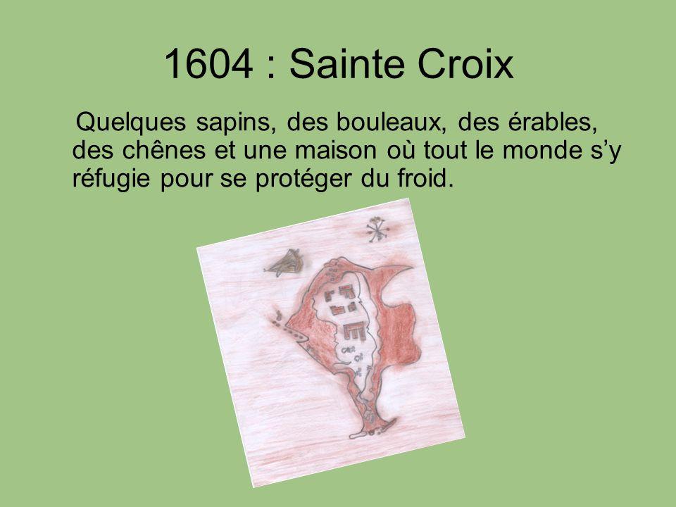 1604 : Sainte Croix Quelques sapins, des bouleaux, des érables, des chênes et une maison où tout le monde s'y réfugie pour se protéger du froid.