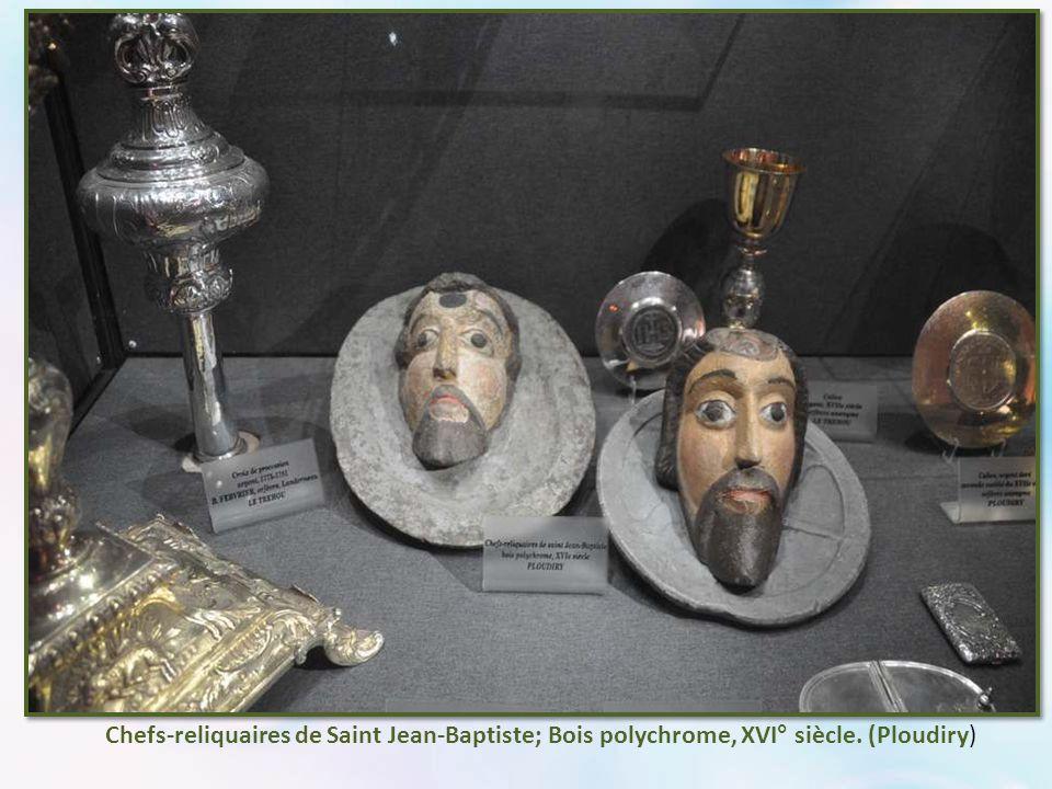 Chefs-reliquaires de Saint Jean-Baptiste; Bois polychrome, XVI° siècle