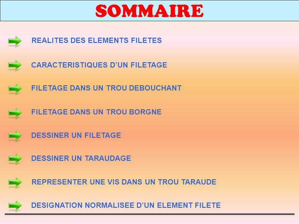 SOMMAIRE REALITES DES ELEMENTS FILETES CARACTERISTIQUES D'UN FILETAGE