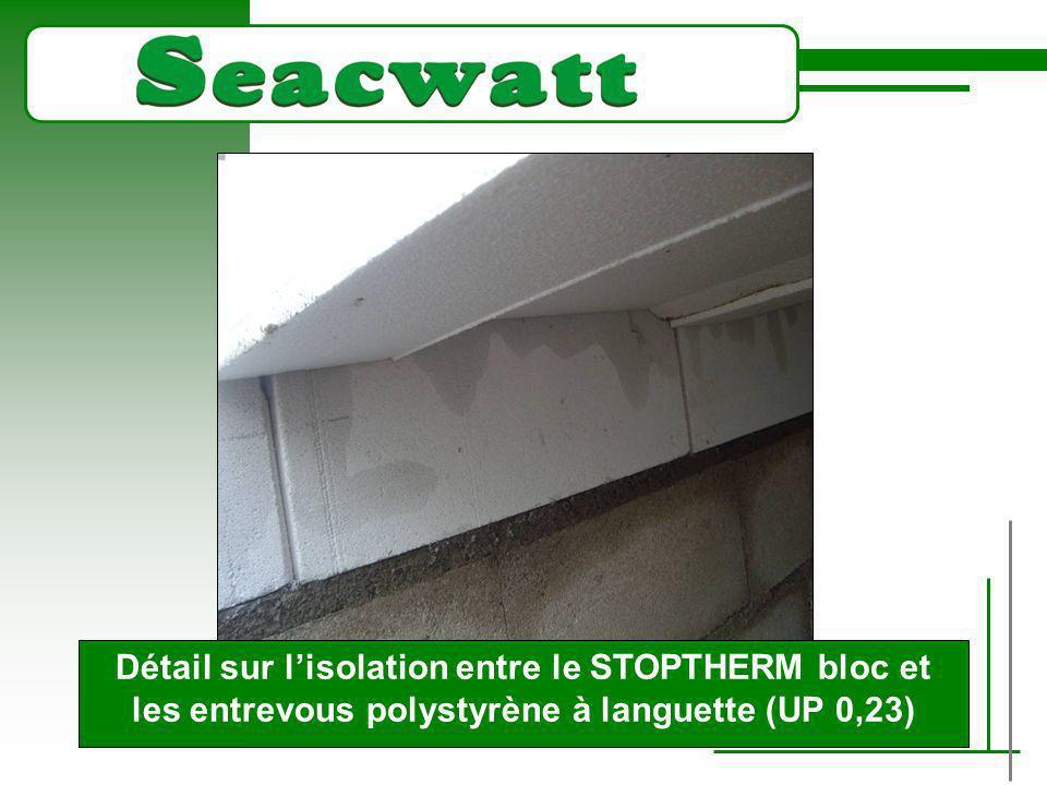 Détail sur l'isolation entre le STOPTHERM bloc et les entrevous polystyrène à languette (UP 0,23)