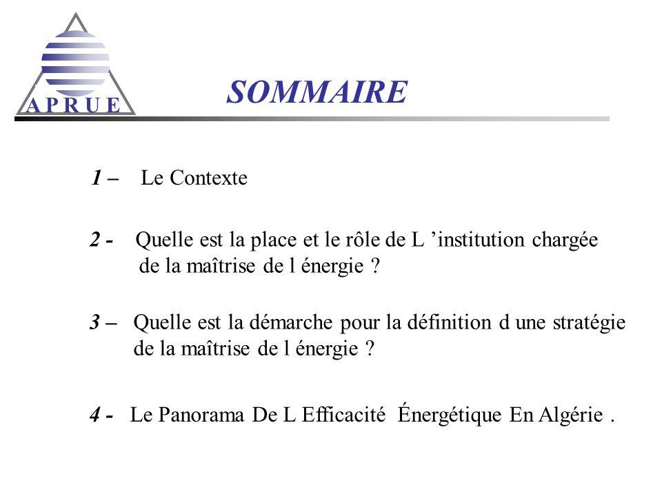 SOMMAIRE A P R U E 1 – Le Contexte