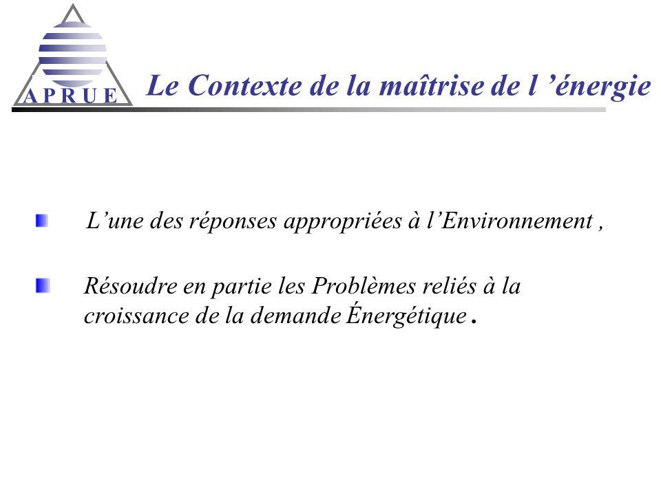 Le Contexte de la maîtrise de l 'énergie