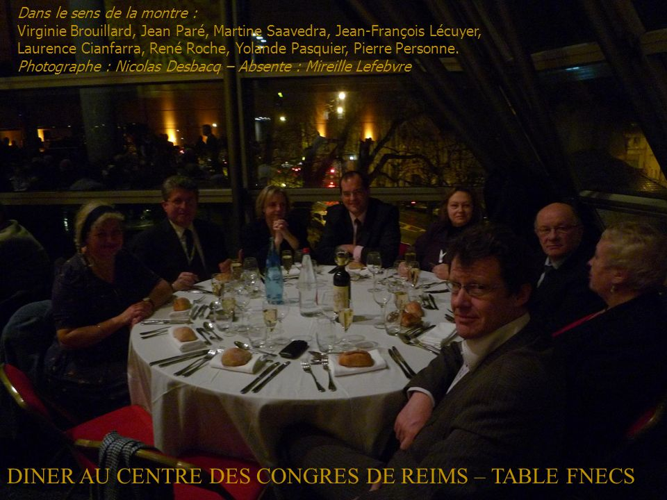 DINER AU CENTRE DES CONGRES DE REIMS – TABLE FNECS
