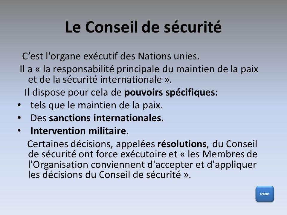 Le Conseil de sécurité C'est l organe exécutif des Nations unies.