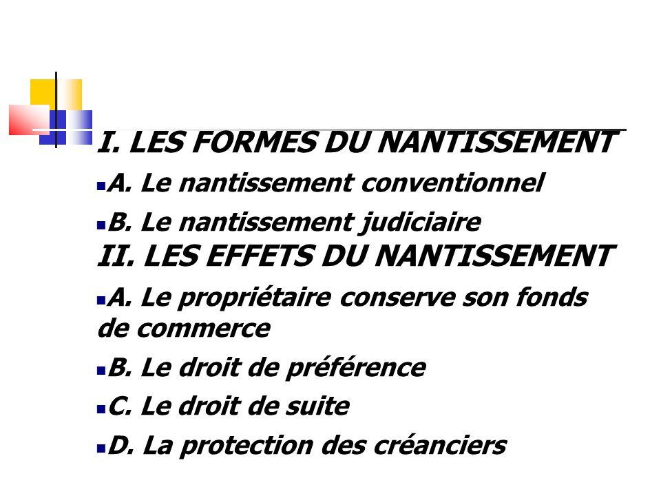 I. LES FORMES DU NANTISSEMENT