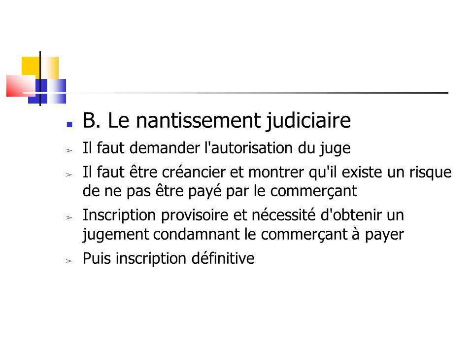 B. Le nantissement judiciaire