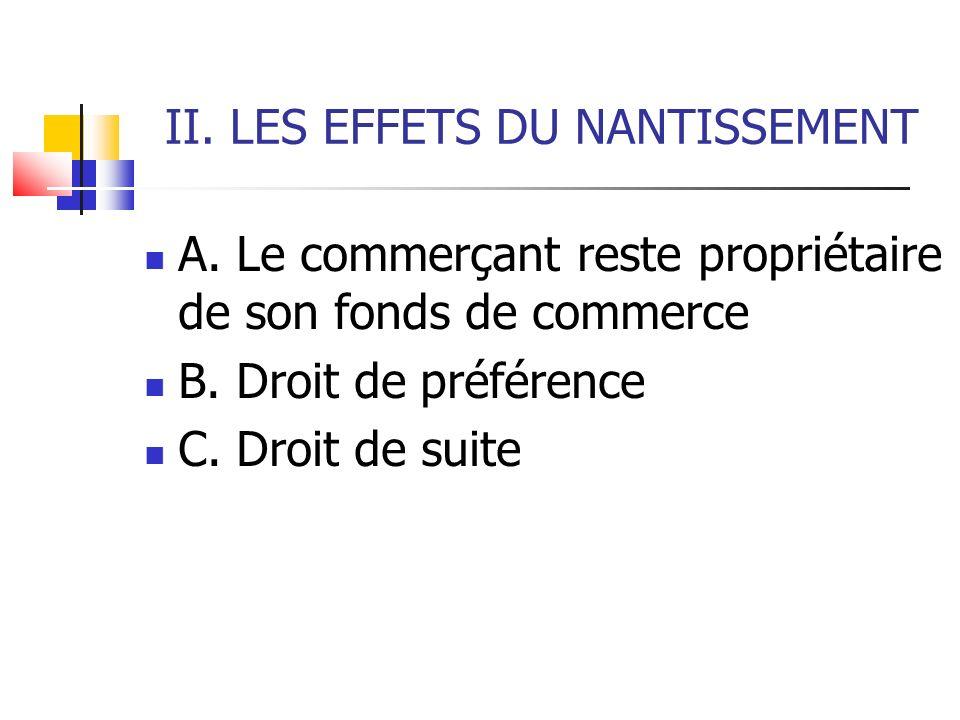 II. LES EFFETS DU NANTISSEMENT