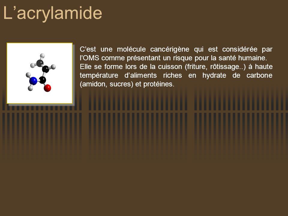 L'acrylamide C'est une molécule cancérigène qui est considérée par l'OMS comme présentant un risque pour la santé humaine.