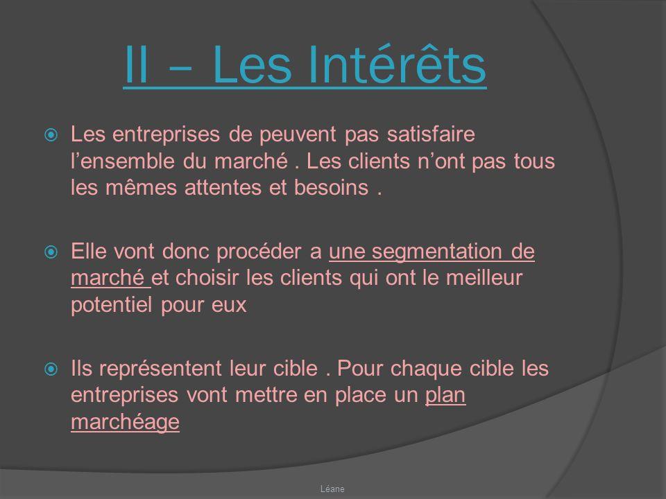 II – Les Intérêts Les entreprises de peuvent pas satisfaire l'ensemble du marché . Les clients n'ont pas tous les mêmes attentes et besoins .
