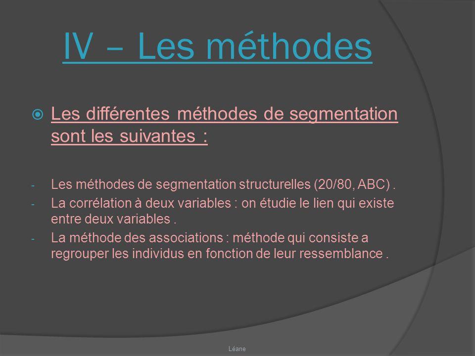 IV – Les méthodes Les différentes méthodes de segmentation sont les suivantes : Les méthodes de segmentation structurelles (20/80, ABC) .