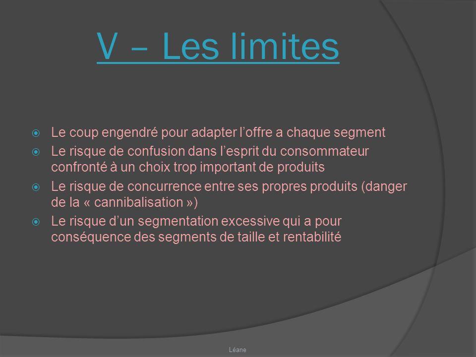 V – Les limites Le coup engendré pour adapter l'offre a chaque segment