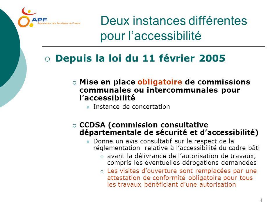 Deux instances différentes pour l'accessibilité