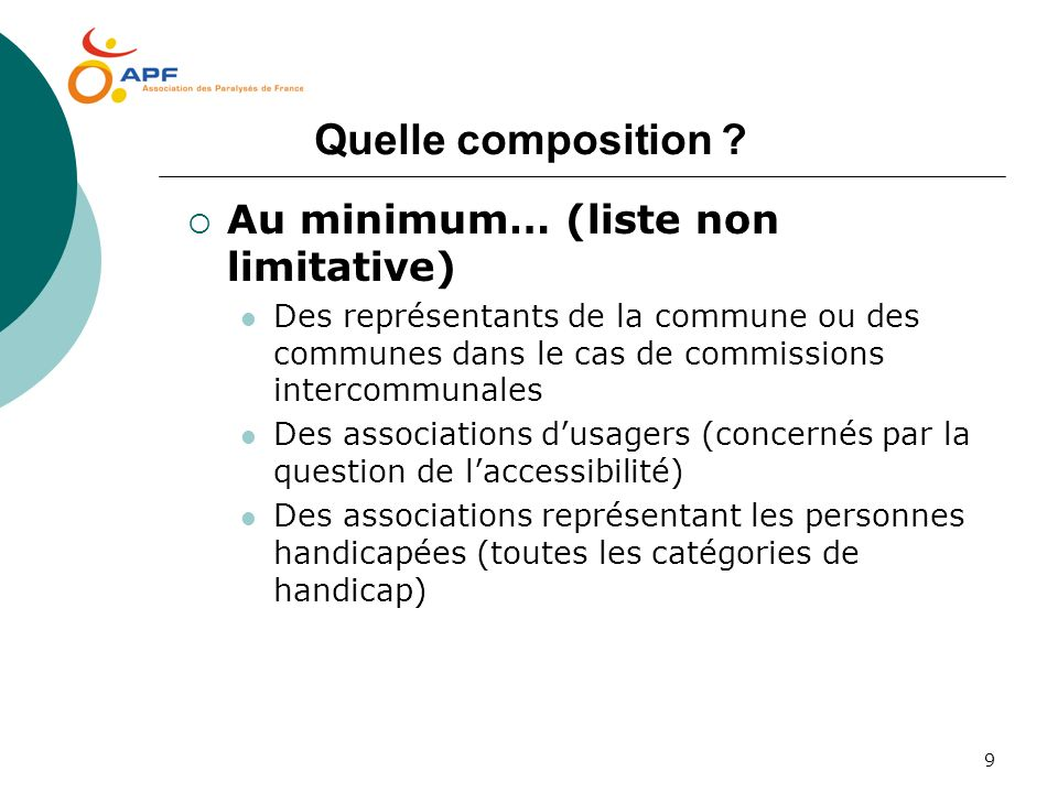 Quelle composition Au minimum… (liste non limitative)