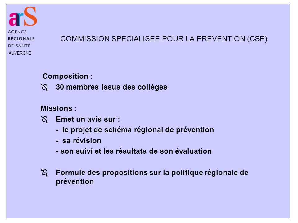 COMMISSION SPECIALISEE POUR LA PREVENTION (CSP)