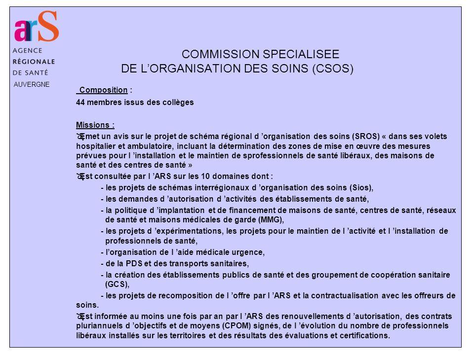COMMISSION SPECIALISEE DE L'ORGANISATION DES SOINS (CSOS)