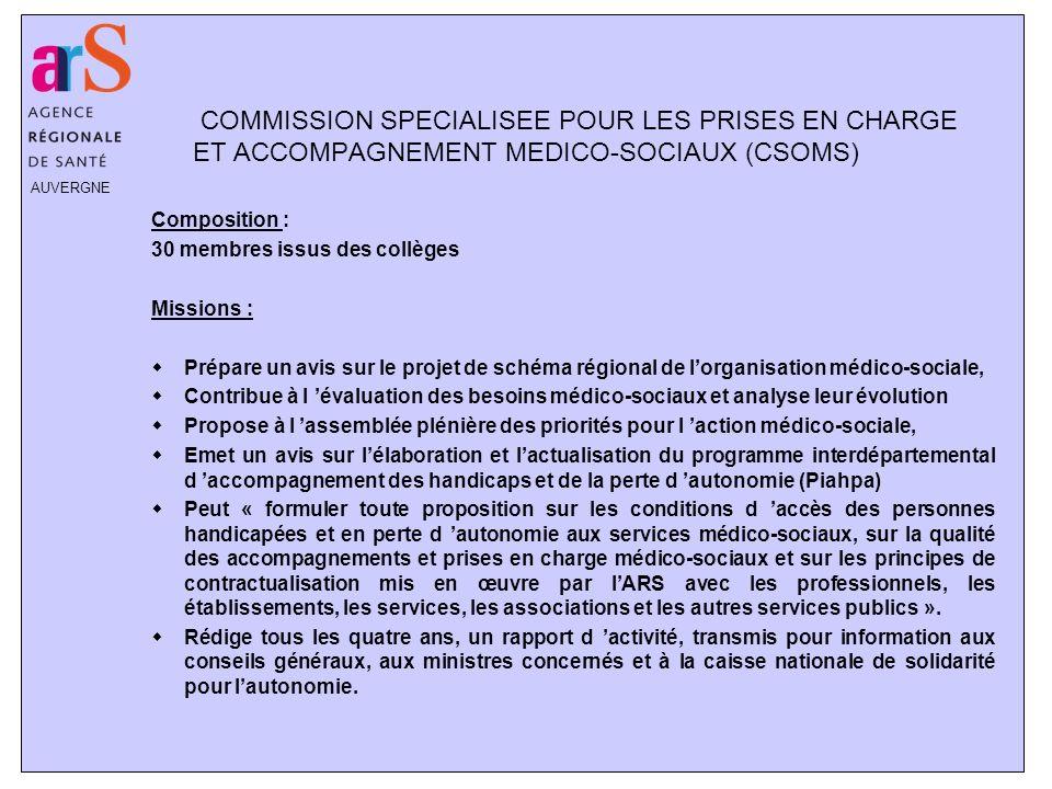 COMMISSION SPECIALISEE POUR LES PRISES EN CHARGE ET ACCOMPAGNEMENT MEDICO-SOCIAUX (CSOMS)