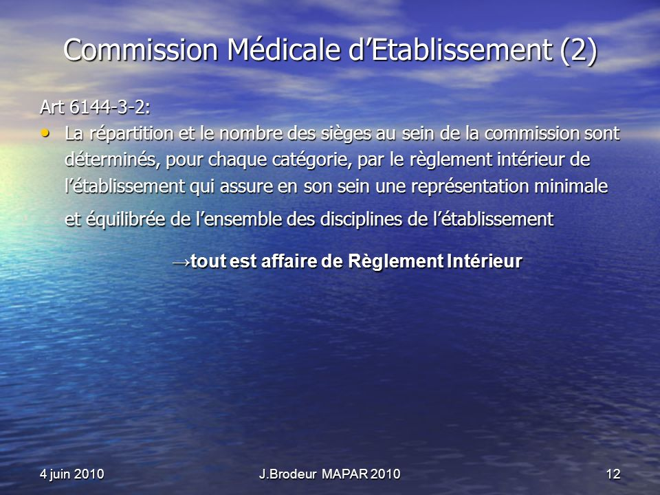 Commission Médicale d'Etablissement (2)