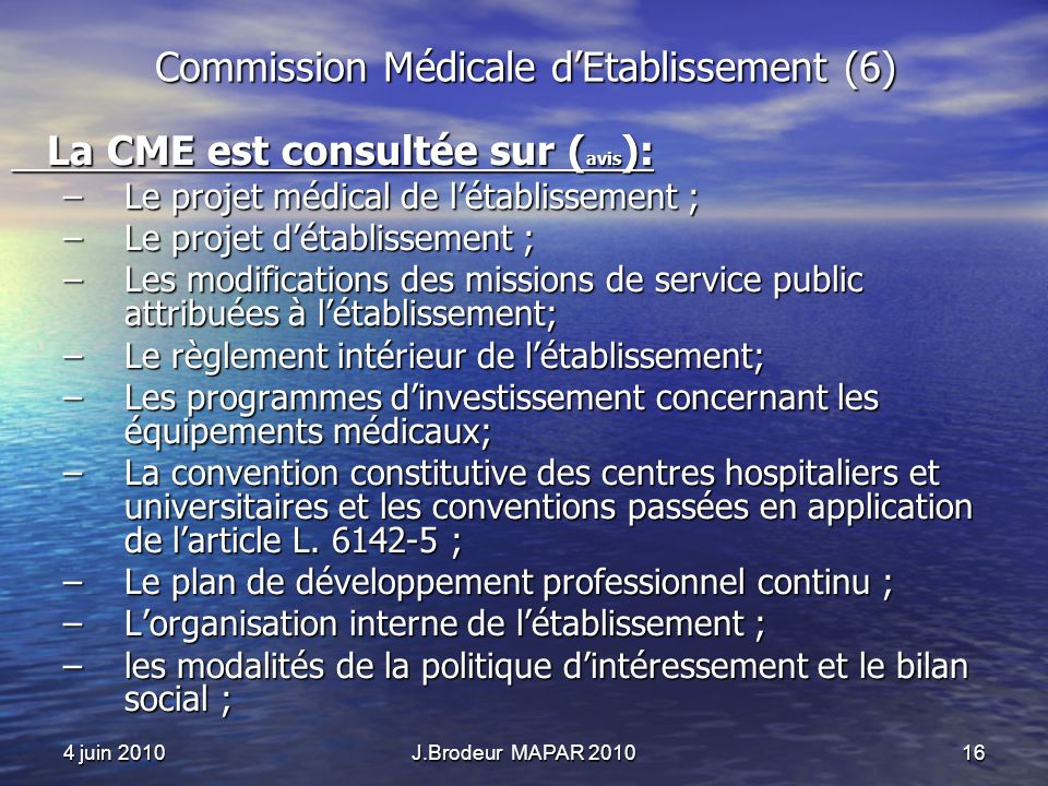 Commission Médicale d'Etablissement (6)