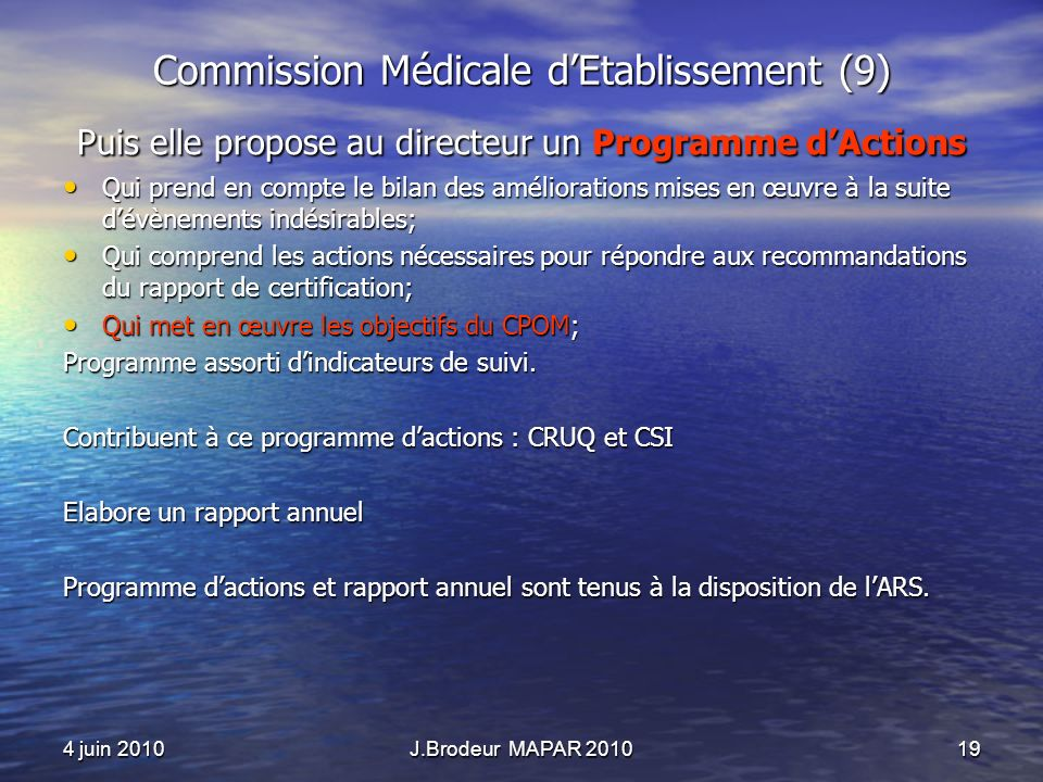 Commission Médicale d'Etablissement (9)