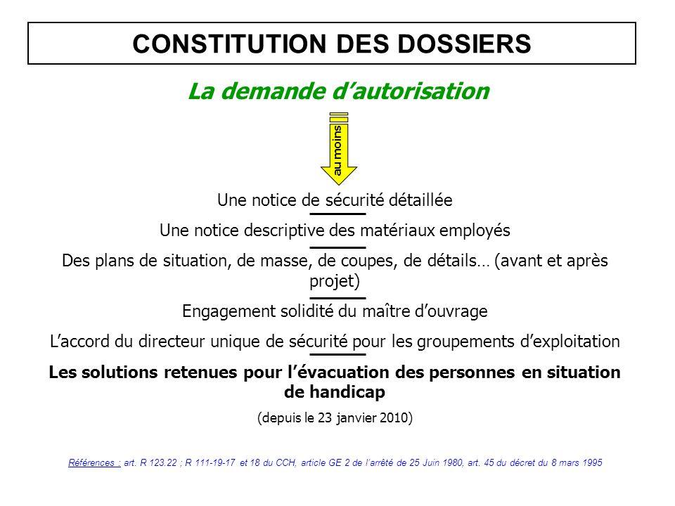 CONSTITUTION DES DOSSIERS