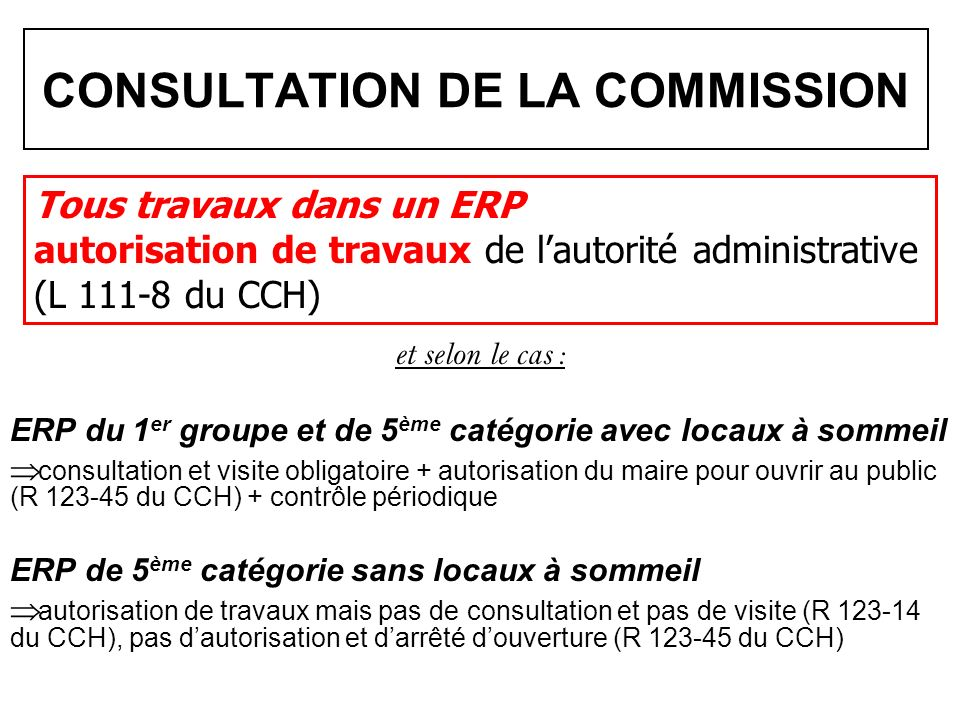 CONSULTATION DE LA COMMISSION