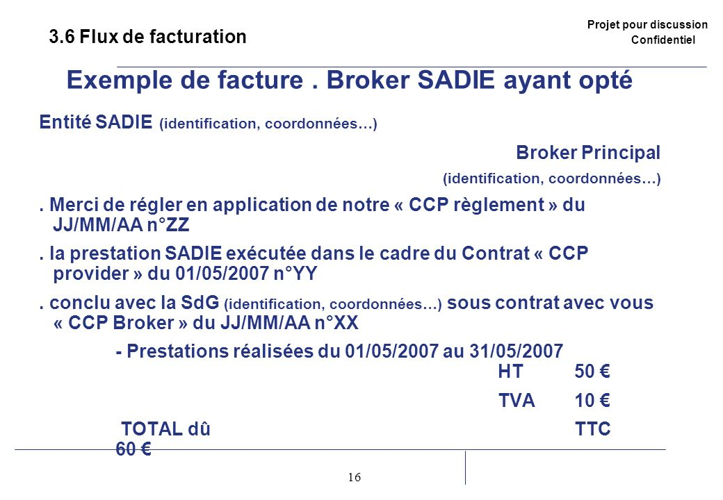 Exemple de facture . Broker SADIE ayant opté
