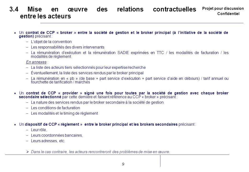 3.4 Mise en œuvre des relations contractuelles entre les acteurs