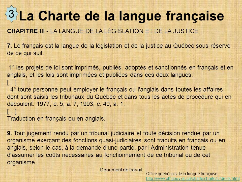 La Charte de la langue française