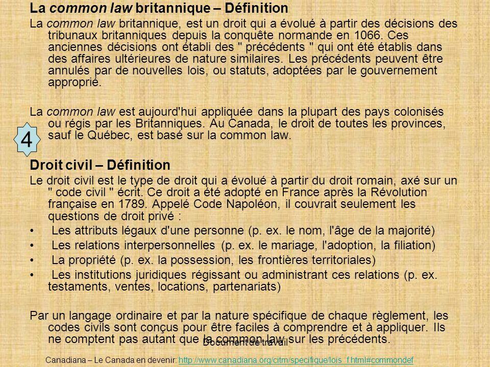 4 La common law britannique – Définition Droit civil – Définition