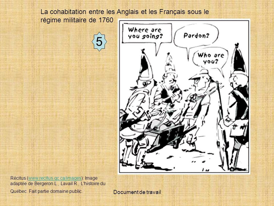 La cohabitation entre les Anglais et les Français sous le régime militaire de 1760