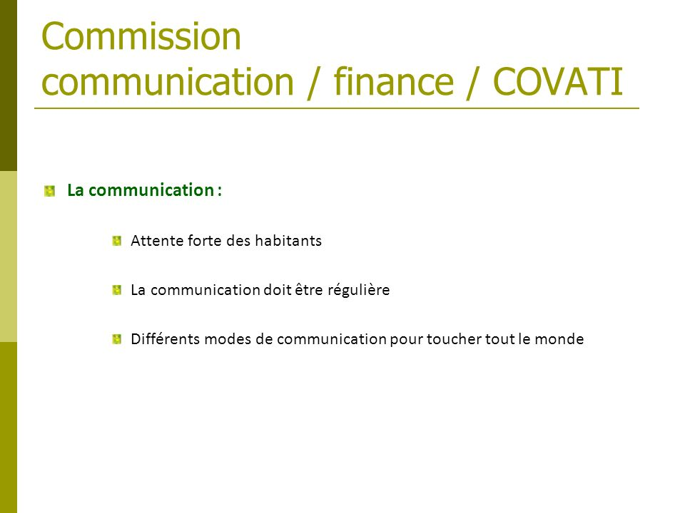 Commission communication / finance / COVATI