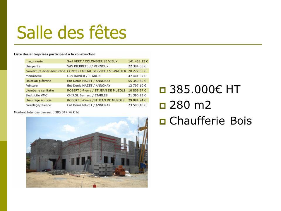 Salle des fêtes 385.000€ HT 280 m2 Chaufferie Bois