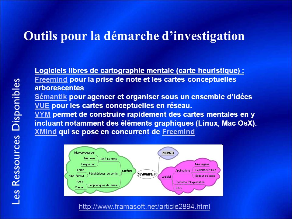 Outils pour la démarche d'investigation