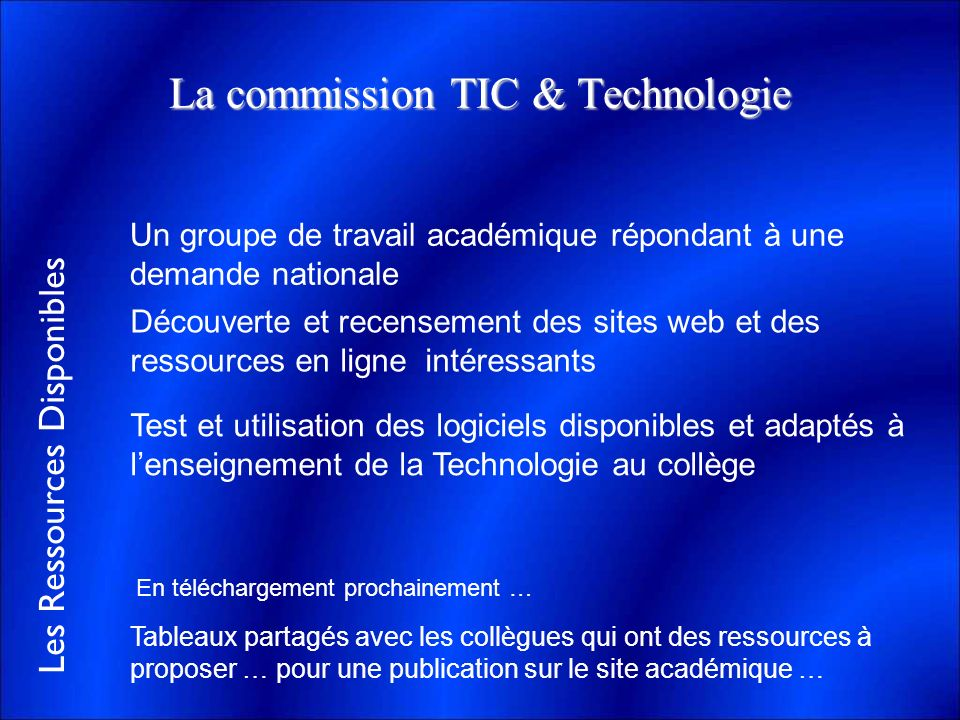 La commission TIC & Technologie
