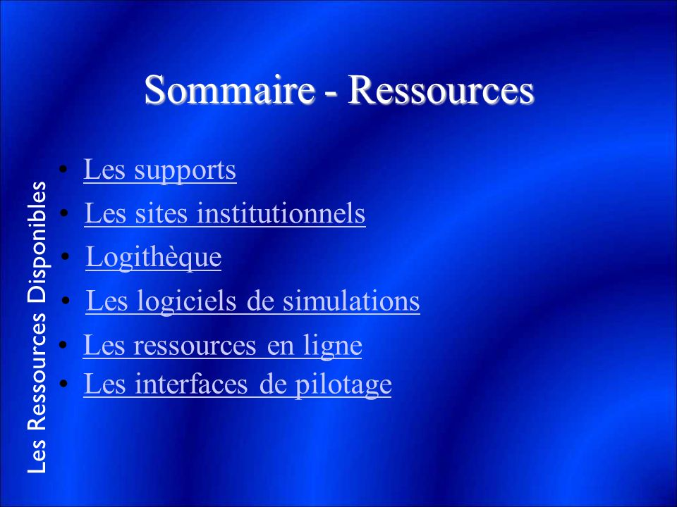Sommaire - Ressources Les supports Les sites institutionnels