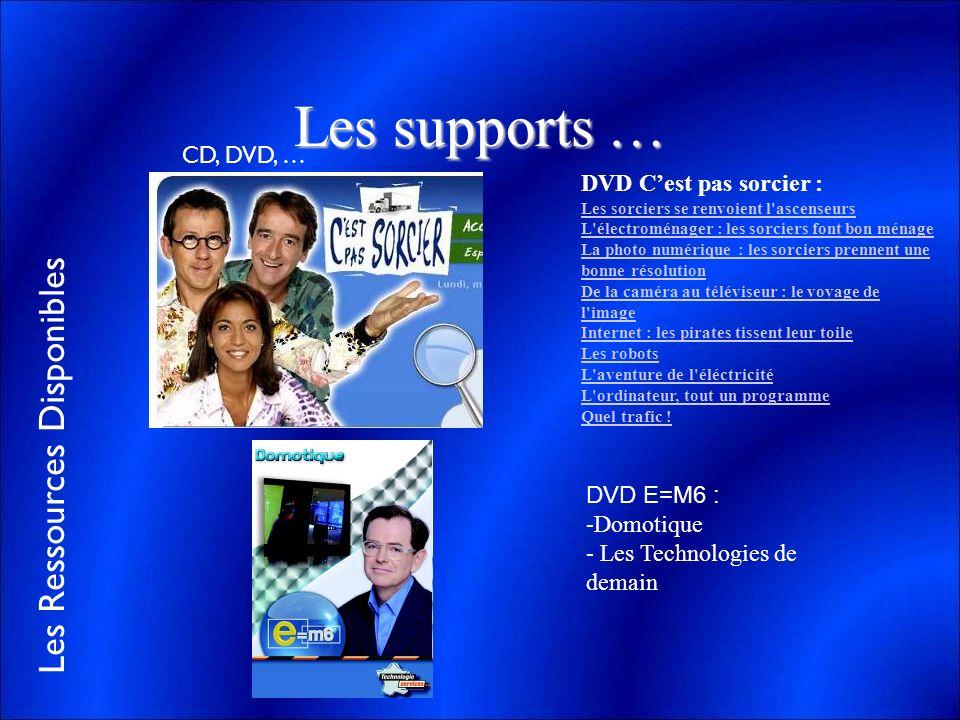Les supports … CD, DVD, … DVD C'est pas sorcier : DVD E=M6 : Domotique