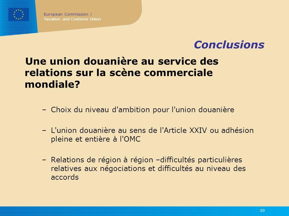 Conclusions Une union douanière au service des relations sur la scène commerciale mondiale Choix du niveau d ambition pour l union douanière.