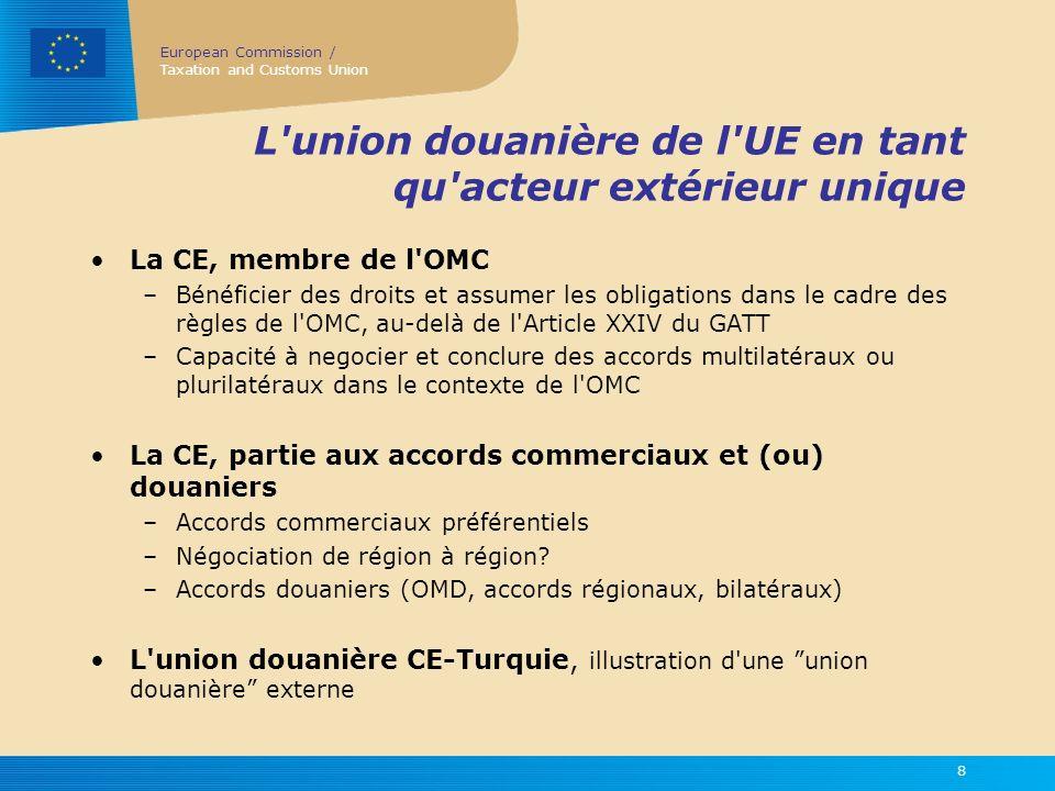 L union douanière de l UE en tant qu acteur extérieur unique