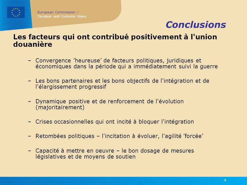Conclusions Les facteurs qui ont contribué positivement à l union douanière.