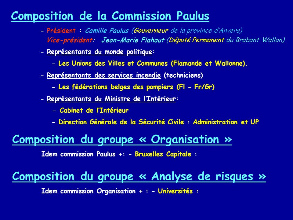 Composition de la Commission Paulus