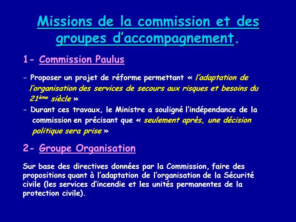 Missions de la commission et des groupes d'accompagnement.