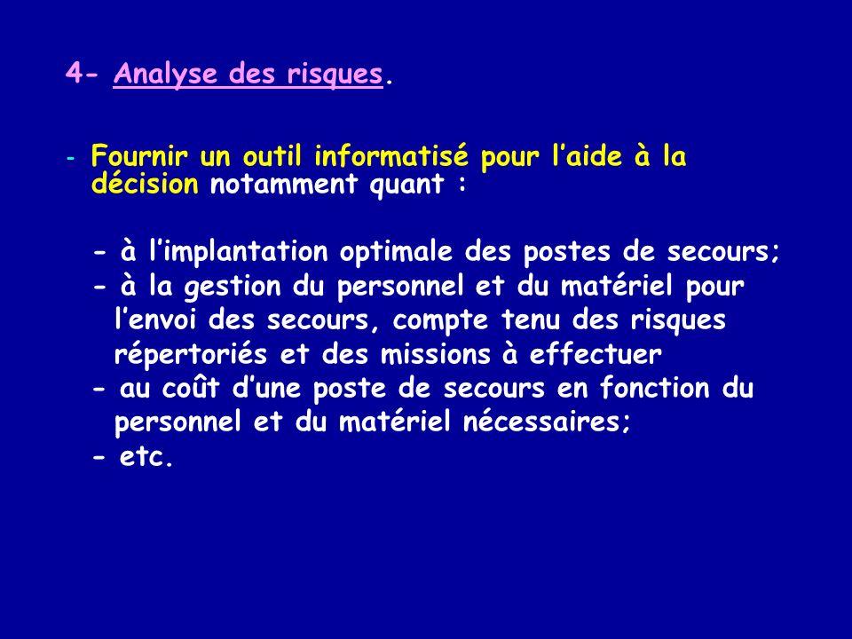4- Analyse des risques. Fournir un outil informatisé pour l'aide à la décision notamment quant : - à l'implantation optimale des postes de secours;