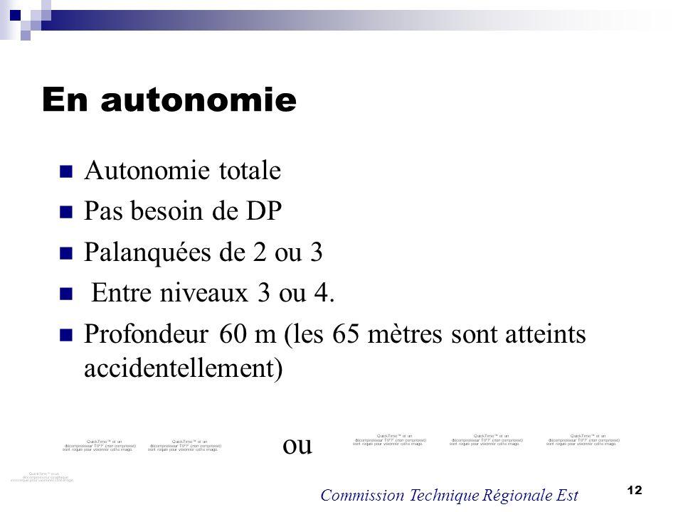 En autonomie ou Autonomie totale Pas besoin de DP Palanquées de 2 ou 3