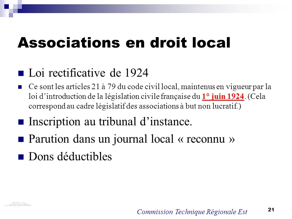 Associations en droit local